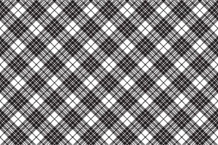 Blackberry clan tartan diagonal black white seamless pattern . Vector illustration.