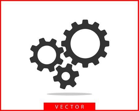 Vector de engranajes y dientes de metal. Diseño plano del icono de engranaje. Logotipo de las ruedas del mecanismo. Plantilla de concepto de rueda dentada. Logos
