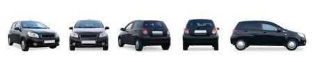 Set mini hatchback car different angle side, front, rear, back isolated on white. Photo exterior auto.
