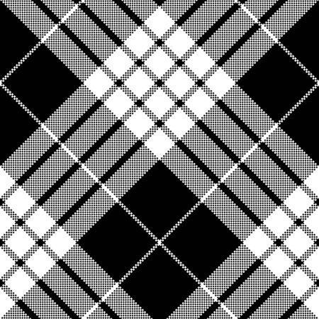 Cameron black white tartan plaid pixel seamless pattern. Vector illustration. Archivio Fotografico - 125156566