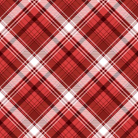 Red tartan fabric texture. Vector illustration.