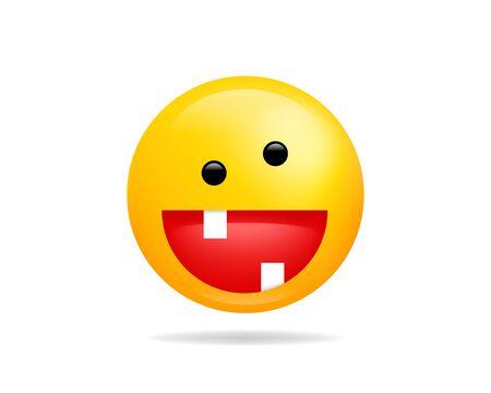 Emoji smile icon vector symbol. Crazy Smiley face yellow cartoon character. Illustration