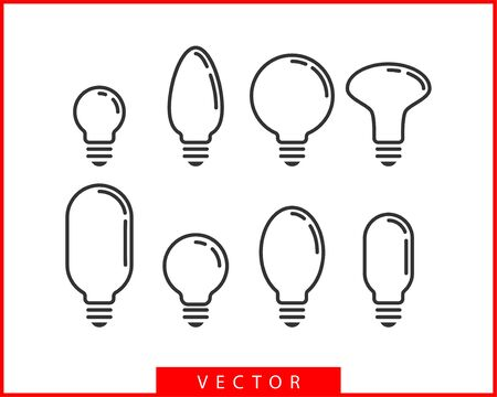 Light bulb icon vector. Light Bulb idea  concept. Set lamps electricity icons web design element. Led lights isolated silhouette.