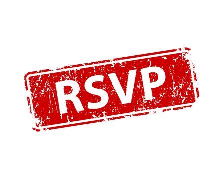 Please respond stamp vector texture. RSVP rubber cliche imprint. Web or print design element for sign, sticker, label