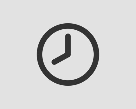 Clock icon vector. Flat design element watch isolated on white background. Illustration