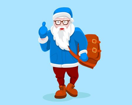 Modern Santa Claus vector illustration cool funny style character come with gift bag and thumb up. Happy New Year greeting card  design element. Cartoon Christmas decoration isolated