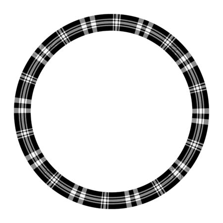 Round frame vector vintage pattern design template. Circle border designs plaid fabric texture. Scottish tartan background for collage art, gif card, handmade crafts. Ilustracja