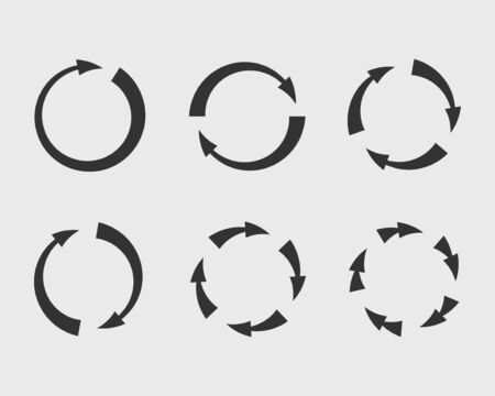 Insieme di vettore frecce simboli sfondo bianco e nero. Diverse icone a forma di freccia hanno impostato il cerchio, su, riccio, dritto e attorcigliato. Elementi di design. Vettoriali