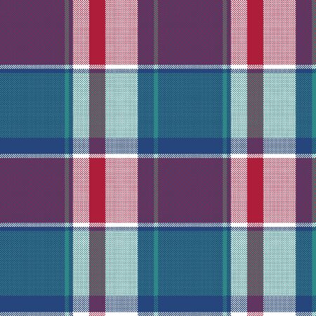Pixel seamless pattern blue plaid. Vector illustration.