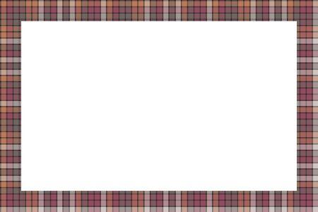 Rechteckgrenzen und Frames-Vektor. Geometrisches Vintage-Rahmendesign mit Grenzmuster. Schottische Tartan karierte Stoffstruktur. Vorlage für Geschenkkarte, Collage, Sammelalbum oder Fotoalbum und Porträt.