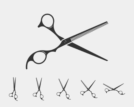 Définir l'icône de ciseaux de coupe de cheveux. Modèle d'élément de conception de vecteur de ciseaux. Silhouette noire et blanche isolée. Vecteurs