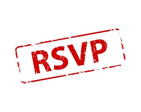 Please respond stamp vector texture. RSVP rubber cliche imprint. Web or print design element for sign, sticker, label