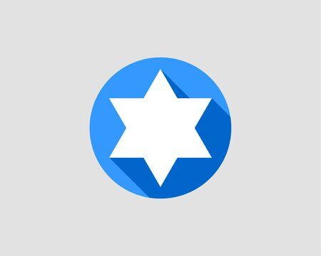 Jewish Star of David icon. Vector six pointed stars symbol.