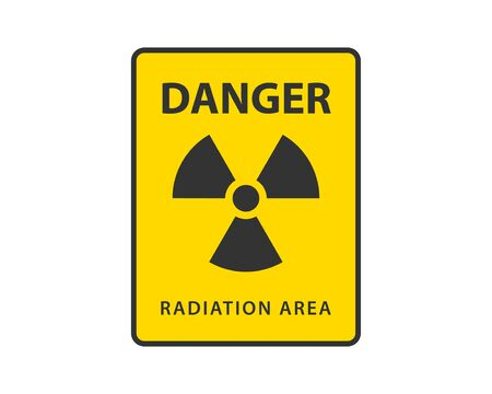 Vecteur d'icône de rayonnement. Symbole de danger de signe radioactif d'avertissement.