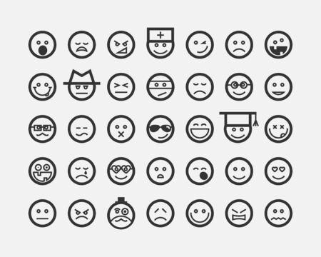 Le grand ensemble sourit aux visages. Collection sourire icône vecteur symbole. Personnage de dessin animé de visage souriant.