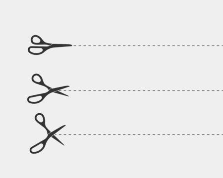 Schere-Symbol. Schere schneidet Vektorgestaltungselement oder -schablone. Schwarz-Weiß-Silhouette isoliert.