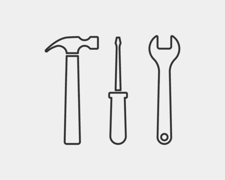 Tools vector wrench icon. Spanner  design element. Key tool isolated on white background Çizim