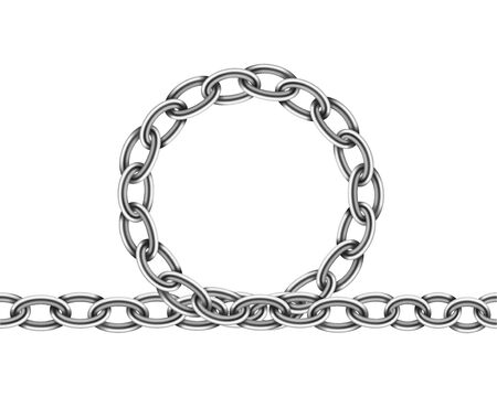 Realistic metal chain texture. Silver color chains link isolated on white background. Strong iron chainlet solid three dimensional design element