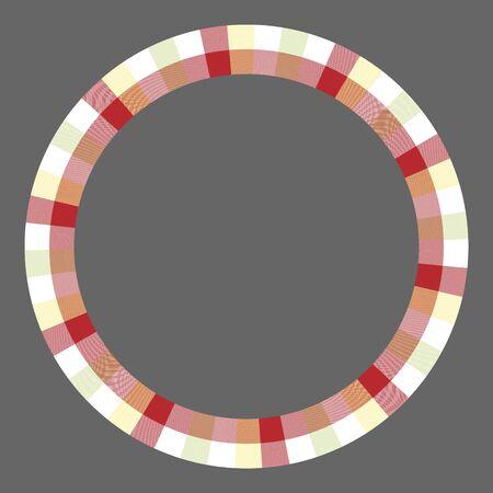 Round frame vector vintage pattern design template. Circle border designs plaid fabric texture. Scottish tartan background for collage art, gif card, handmade crafts. Standard-Bild - 129258643