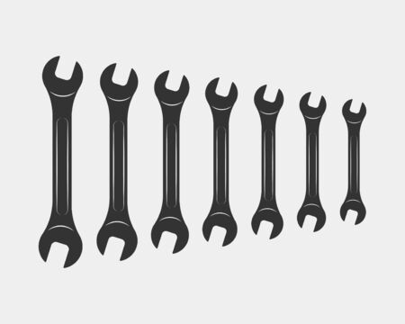 Tools vector wrench icon. Spanner logo design element. Key tool isolated on white background Ilustracja