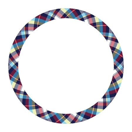 Circle borders and frames vector. Round border pattern geometric vintage frame design. Scottish tartan plaid fabric texture. Template for gift card, collage, scrapbook or photo album and portrait.  Ilustracja