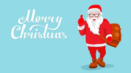 Modern Santa Claus vector illustration cool funny style character come with gift bag and thumb up. Happy New Year greeting card  design element. Cartoon lettering Merry Christmas decoration isolated Иллюстрация