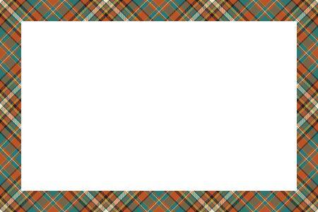 Vintage frame vector. Scottish border pattern retro style. Beauty empty background, template for photo, portrait, album. Tartan plaid ornament. Иллюстрация