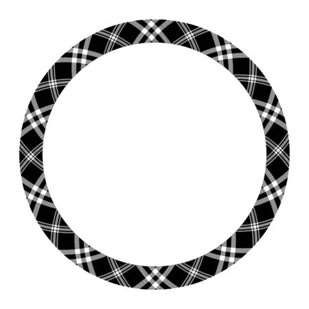 Circle borders and frames vector. Round border pattern geometric vintage frame design. Scottish tartan plaid fabric texture. Template for gift card, collage, scrapbook or photo album and portrait. Standard-Bild - 129260386