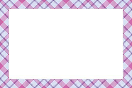 Vintage frame vector. Scottish border pattern retro style. Beauty empty background, template for photo, portrait, album. Tartan plaid ornament. Standard-Bild - 129260389