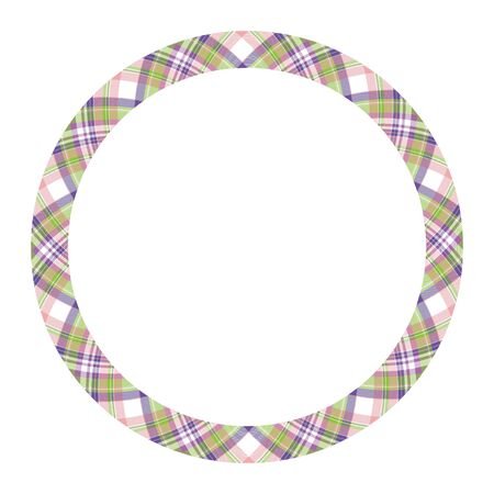 Circle borders and frames vector. Round border pattern geometric vintage frame design. Scottish tartan plaid fabric texture. Template for gift card, collage, scrapbook or photo album and portrait. Stock fotó - 129260735