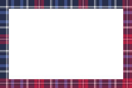 Rectangle frame vector vintage pattern design template. Border designs plaid fabric texture. Scottish tartan background for collage art, gif card, handmade crafts. Illusztráció