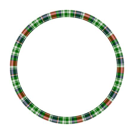 Round frame vector vintage pattern design template. Circle border designs plaid fabric texture. Scottish tartan background for collage art, gif card, handmade crafts. Standard-Bild - 129260703