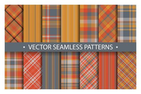Set plaid pattern seamless. Tartan patterns fabric texture. Checkered geometric vector background. Scottish stripe blanket backdrop. Fashion cloth collection tile flat design textile. Stock fotó - 129260708