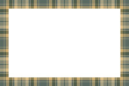 Rectangle frame vector vintage pattern design template. Border designs plaid fabric texture. Scottish tartan background for collage art, gif card, handmade crafts. Standard-Bild - 129260528