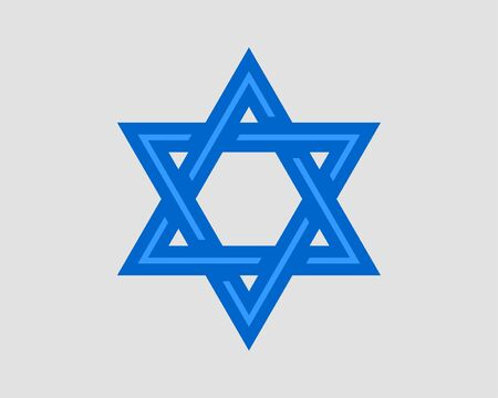 Jewish Star of David icon. Vector six pointed stars symbol.