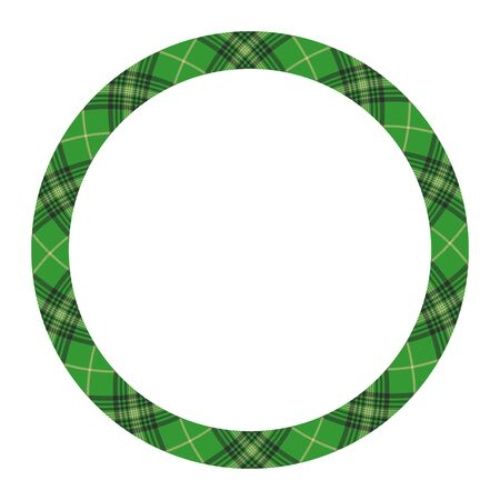 Circle borders and frames vector. Round border pattern geometric vintage frame design. Scottish tartan plaid fabric texture. Template for gift card, collage, scrapbook or photo album and portrait. Standard-Bild - 129260535