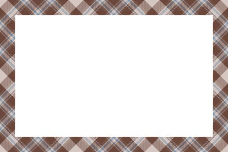 Vintage frame vector. Scottish border pattern retro style. Beauty empty background, template for photo, portrait, album. Tartan plaid ornament. Standard-Bild - 129260553