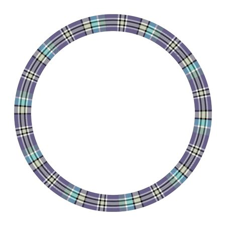 Circle borders and frames vector. Round border pattern geometric vintage frame design. Scottish tartan plaid fabric texture. Template for gift card, collage, scrapbook or photo album and portrait. Standard-Bild - 129260463