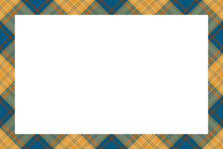 Vintage frame vector. Scottish border pattern retro style. Beauty empty background, template for photo, portrait, album. Tartan plaid ornament. Ilustracja