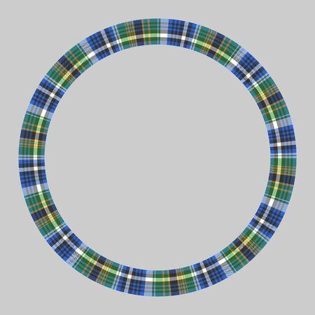 Round frame vector vintage pattern design template. Circle border designs plaid fabric texture. Scottish tartan background for collage art, gif card, handmade crafts. Ilustracja