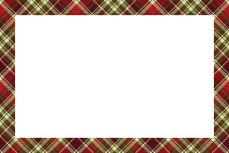 Rectangle borders and Frames vector. Border pattern geometric vintage frame design. Scottish tartan plaid fabric texture. Template for gift card, collage, scrapbook or photo album and portrait. Standard-Bild - 129260451
