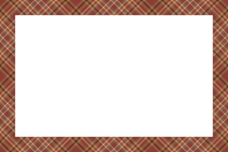 Vintage frame vector. Scottish border pattern retro style. Beauty empty background, template for photo, portrait, album. Tartan plaid ornament. Standard-Bild - 129260448