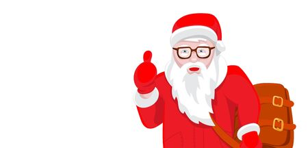 Modern Santa Claus vector illustration cool funny style character come with gift bag and thumb up. Happy New Year greeting card  design element. Cartoon Christmas decoration isolated on white background.
