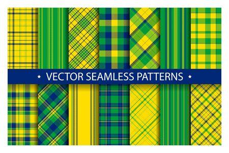 Establecer patrón de cuadros sin costuras. Textura de la tela de patrones de tartán. Fondo de vector geométrico a cuadros. Telón de fondo de manta de rayas escocesas. Colección de tela de moda textil de diseño plano de azulejos.