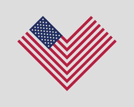 Heart love USA flag vector. Modern style United States of America symbol. American banner design element.