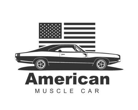 American muscle car vector. Supercar garage template. Old auto silhouette label for web or print.