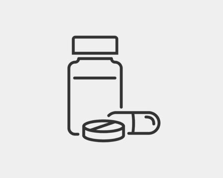 Medical icons vector. Pills and capsules icon medicine drug. Black white silhouette isolated on background.