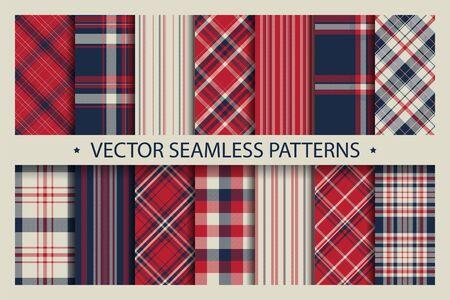 Set plaid pattern seamless. Tartan patterns fabric texture. Checkered geometric vector background. Scottish stripe blanket backdrop. Fashion cloth collection tile flat design textile. Standard-Bild - 129813226