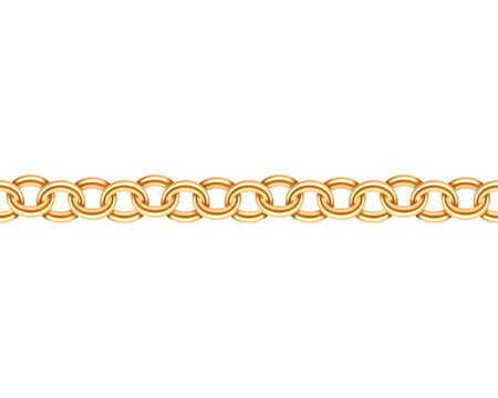Golden chain seamless texture. Realistic gold chains link isolated on white background. Jewelry chainlet  three dimensional design element. Illustration