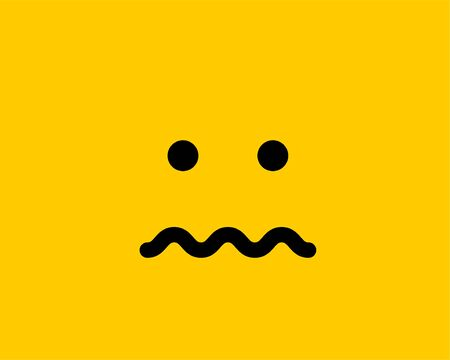 Emoji smile icon vector symbol on yellow background. Smiley face cartoon character wallpaper.